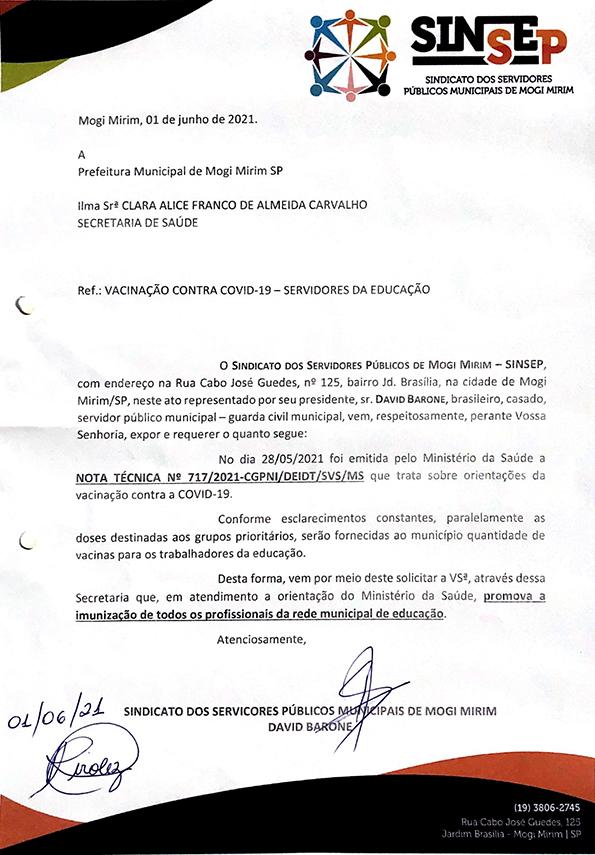 Imagem do ofício encaminhado a Secretaria da Saúde no dia 01/06/2021.